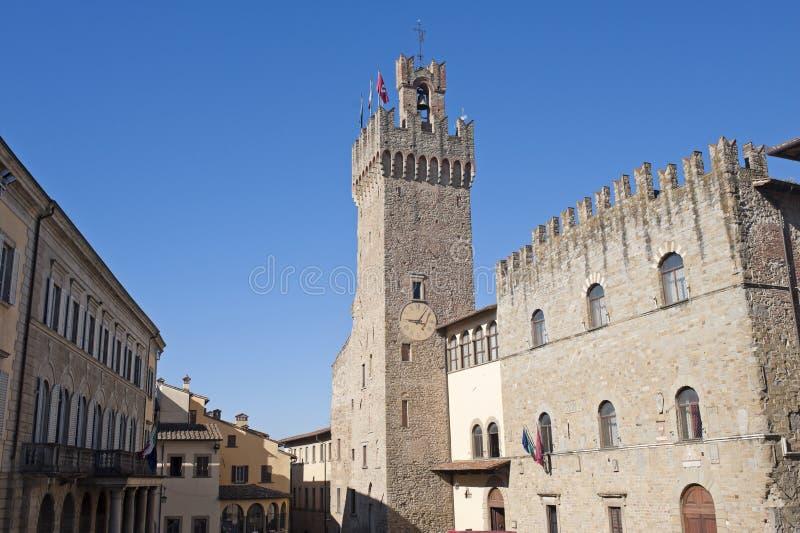 阿雷佐大厦意大利中世纪托斯卡纳 免版税库存图片