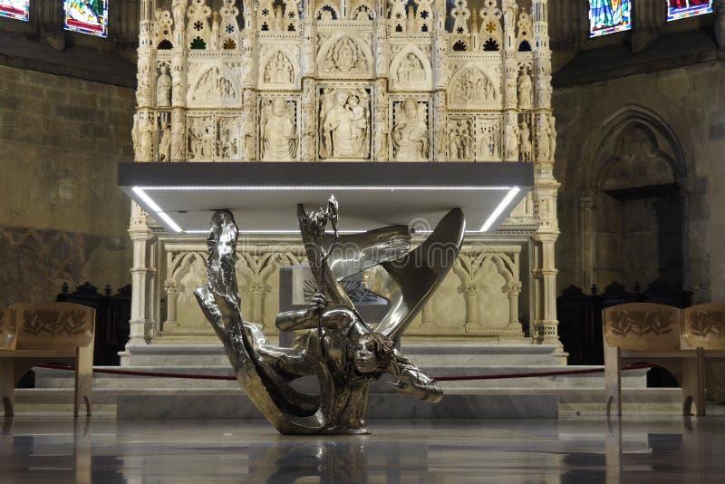 阿雷佐大教堂法坛致力圣Donatus,雕刻在大理石由佛罗伦丁, Aretine和Sienese艺术家 免版税图库摄影