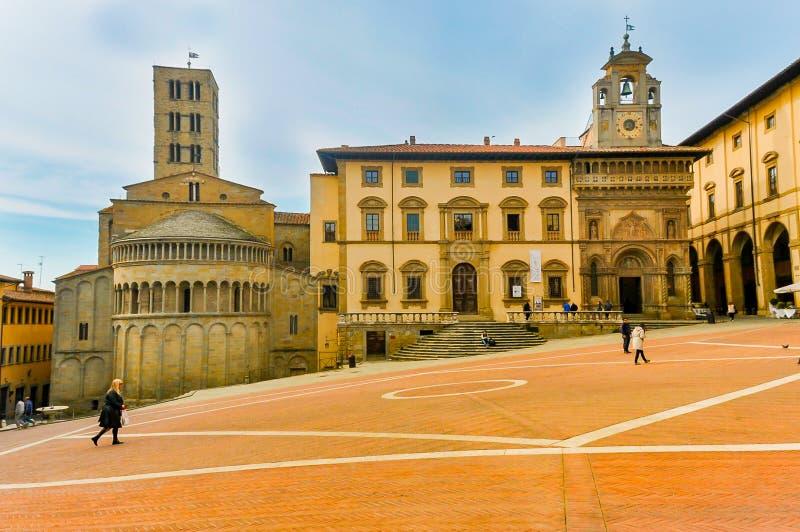 阿雷佐正方形在佛罗伦萨,意大利 库存图片