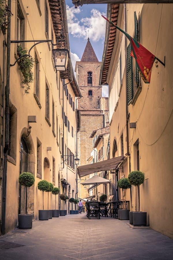 阿雷佐,托斯卡纳美丽的街道  库存照片