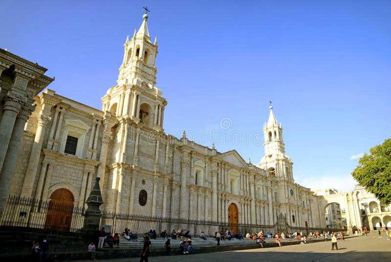 阿雷基帕圣殿主教座堂,壮观的地标在阿雷基帕耶路撒冷旧城,秘鲁的心脏 免版税库存图片