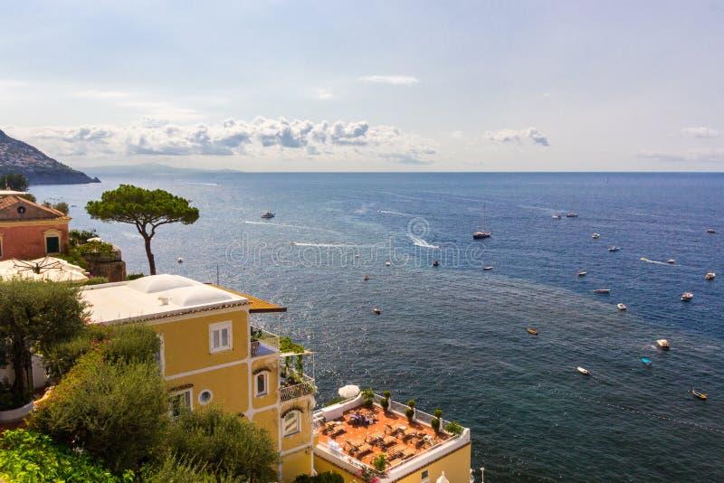 阿马尔菲海岸的波西塔诺在那不勒斯附近在意大利 免版税库存图片