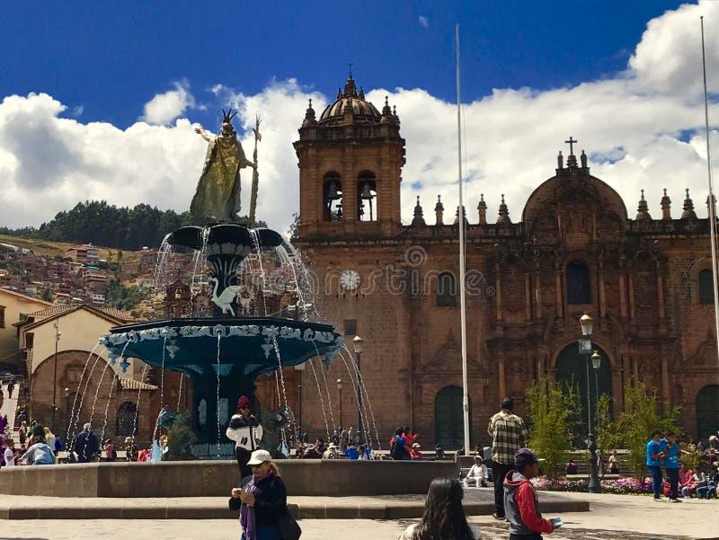 阿马斯广场库斯科秘鲁 免版税库存照片