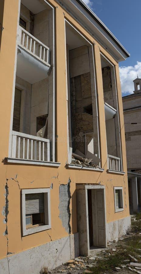 阿马特里切-意大利,瓦砾由于地震在2016年 免版税库存照片