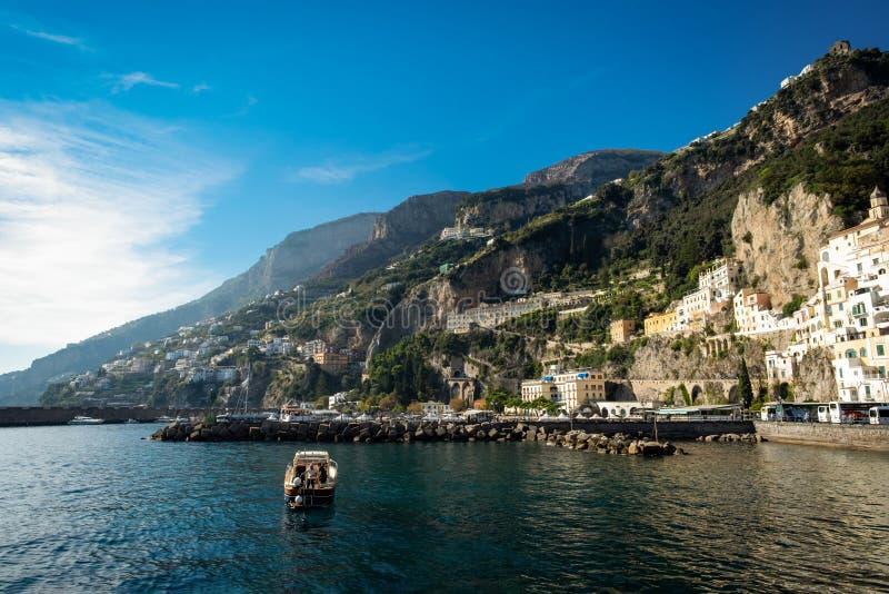 阿马飞、一小镇和comune在萨莱诺省,意大利 免版税库存图片