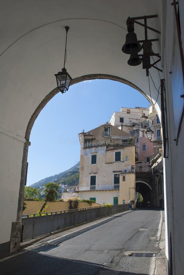从阿马飞海岸,意大利的典型的房子 免版税库存照片