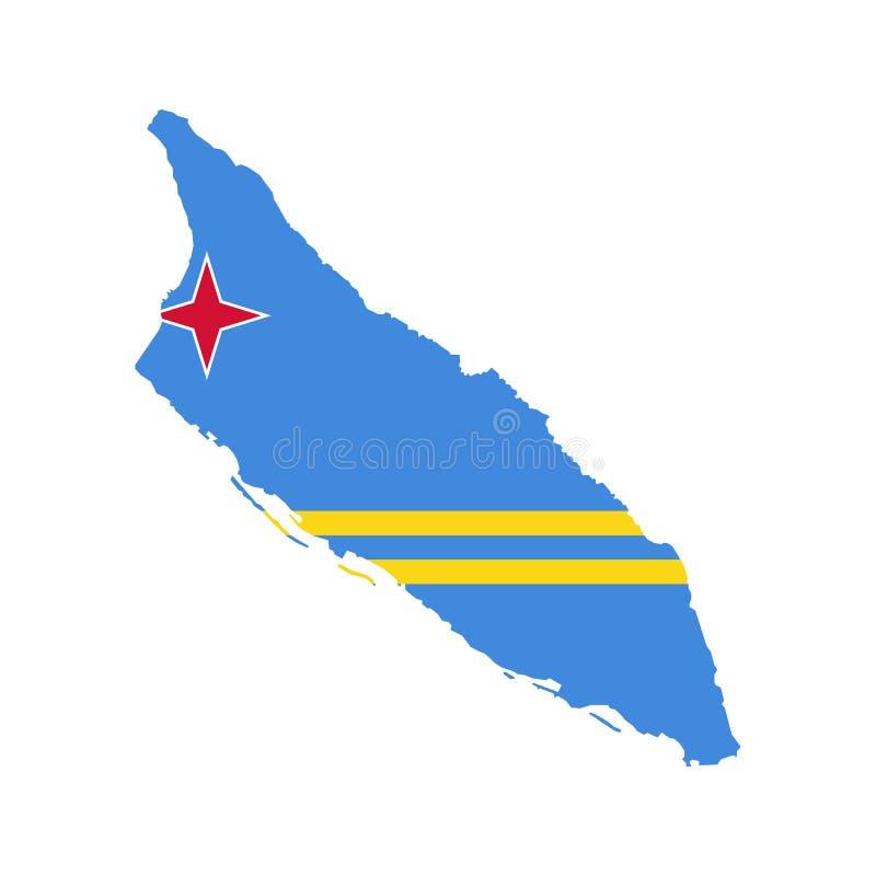 阿鲁巴旗子和地图 库存例证