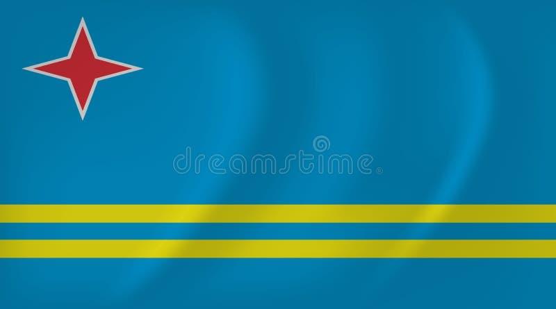 阿鲁巴挥动的旗子 向量例证