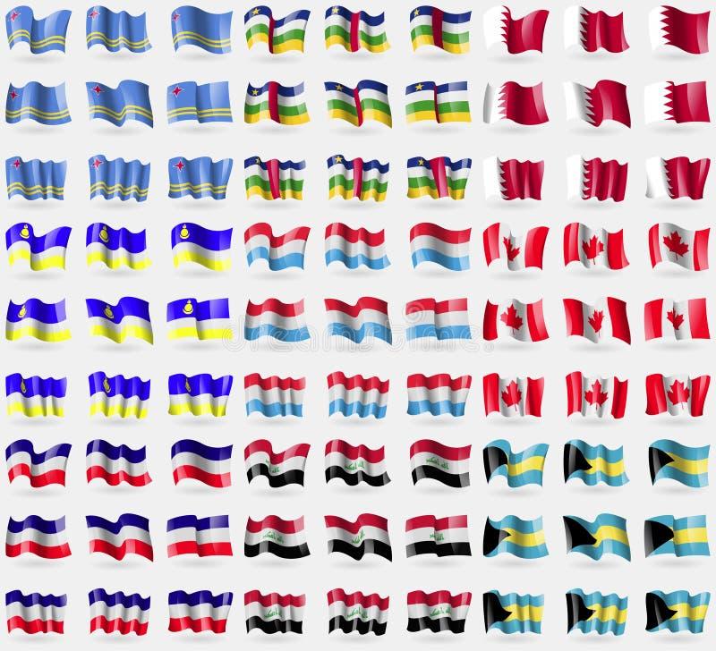 阿鲁巴,中非共和国,巴林,布里亚特共和国,卢森堡,伊拉克,巴哈马 大套81面旗子 库存例证