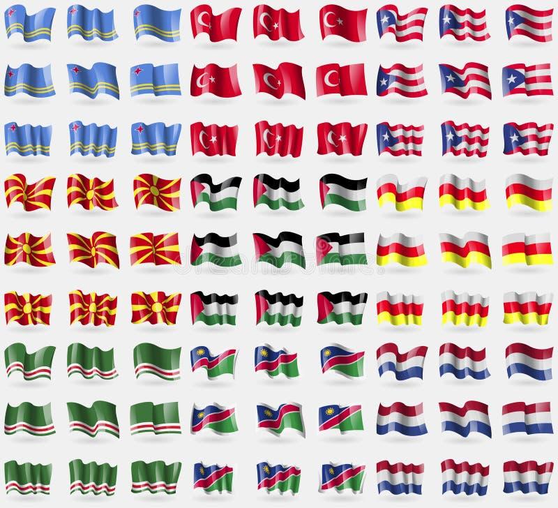 阿鲁巴,土耳其,波多黎各,马达加斯加,巴勒斯坦,北奥塞梯,伊奇克里亚车臣共和国,纳米比亚,荷兰 大套8 库存例证