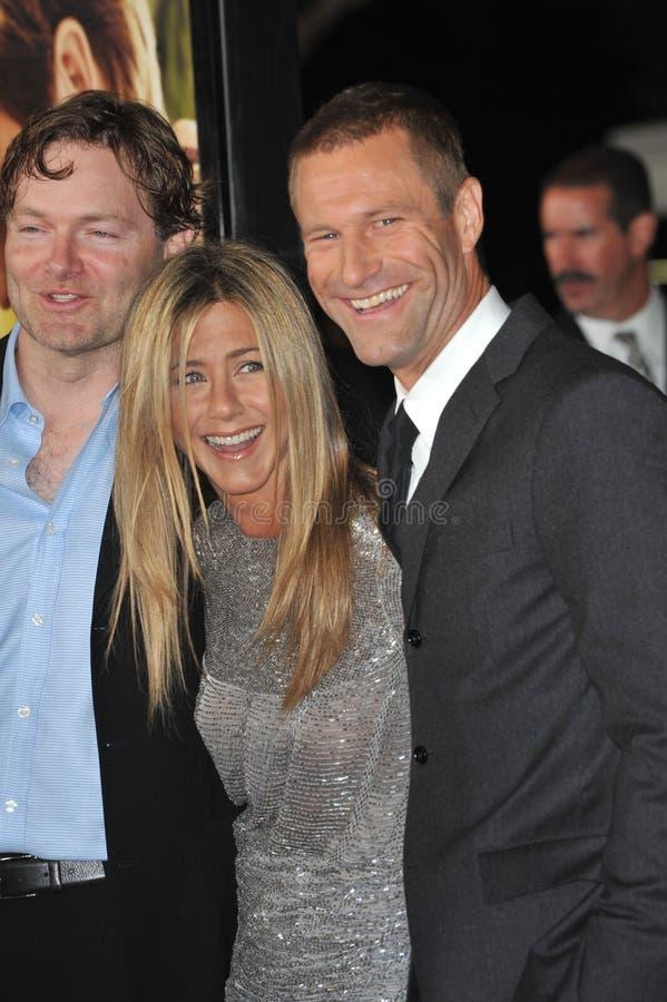 阿龙・ Eckhart,詹尼弗Aniston, Brandon阵营 免版税库存照片