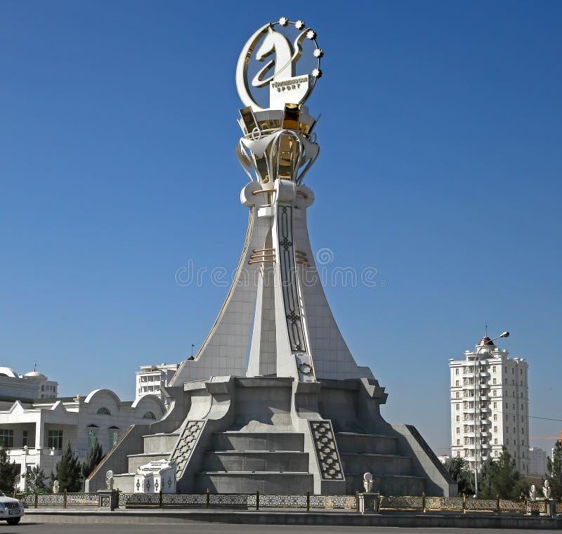 阿什伽巴特,土库曼斯坦- 2015年10月19日 纪念碑第5个亚洲人我 免版税库存照片