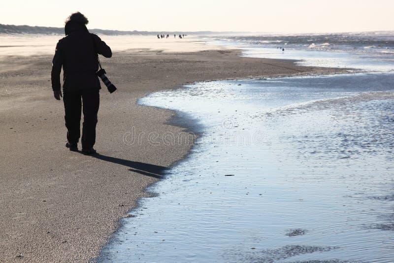 阿默兰岛海岛的,荷兰孤独的摄影师 免版税图库摄影