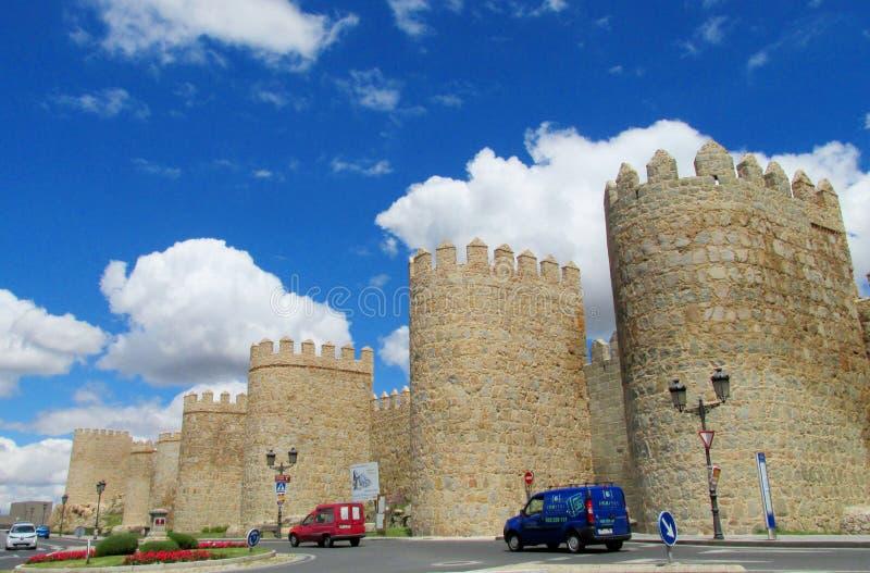 阿维拉城堡城市墙壁,西班牙 库存图片