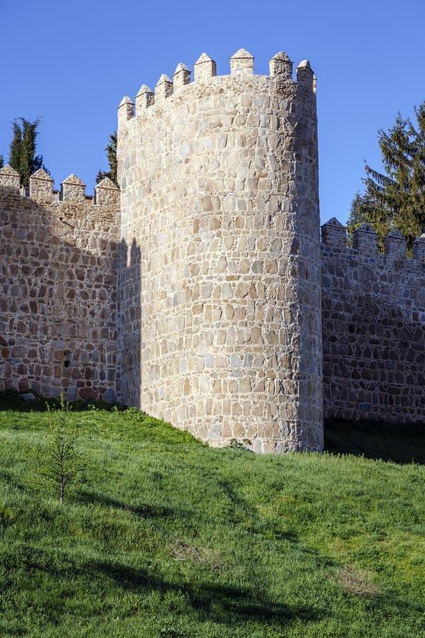 阿维拉风景中世纪城市墙壁  库存图片