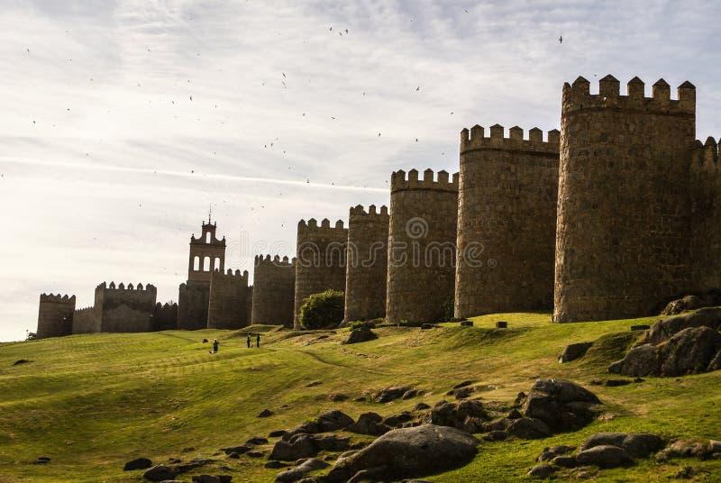 阿维拉,西班牙,联合国科教文组织名单风景中世纪城市墙壁  免版税库存图片