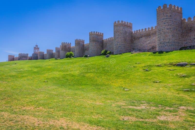 阿维拉,西班牙,联合国科教文组织名单风景中世纪城市墙壁 库存图片