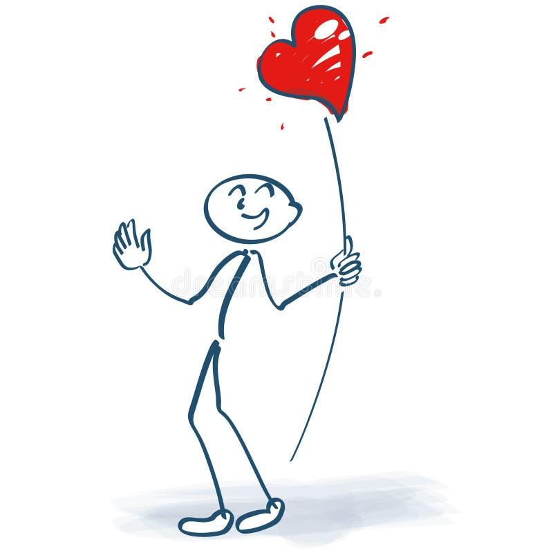 黏附与心脏的图在棍子 向量例证