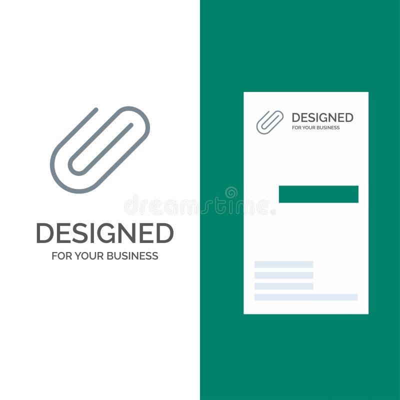 附件,附上,夹子,增加灰色商标设计和名片模板 库存例证