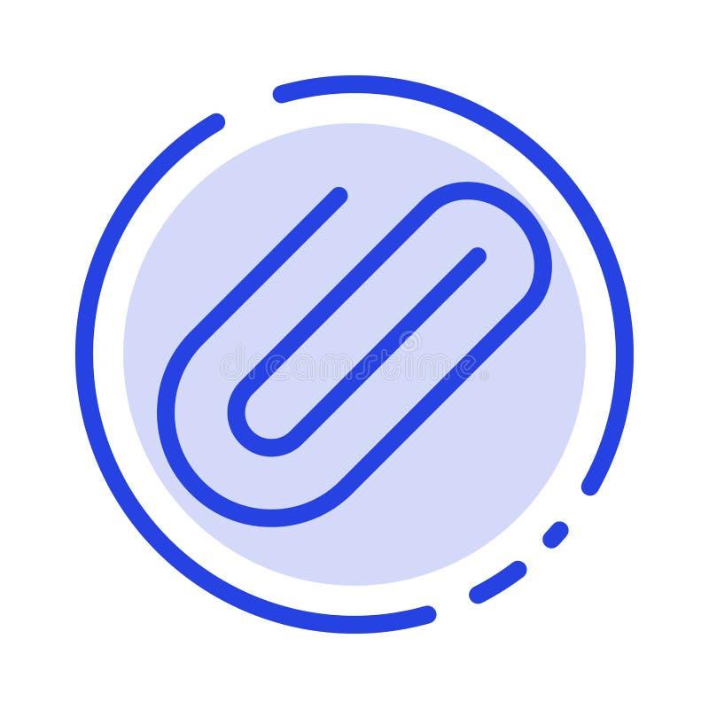 附件,附上,夹子,增加蓝色虚线线象 皇族释放例证