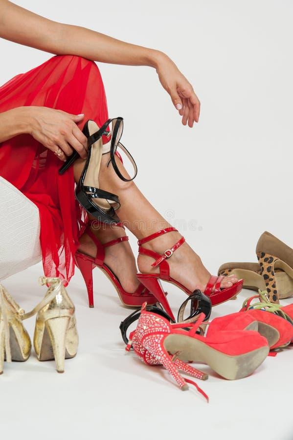 附加妇女的鞋子 免版税库存照片