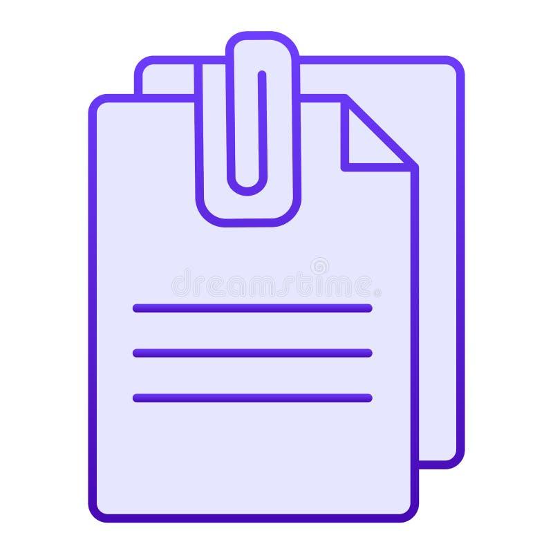 附加文件平的象 与夹子蓝色象的纸在时髦平的样式 板料梯度样式设计,被设计 库存例证