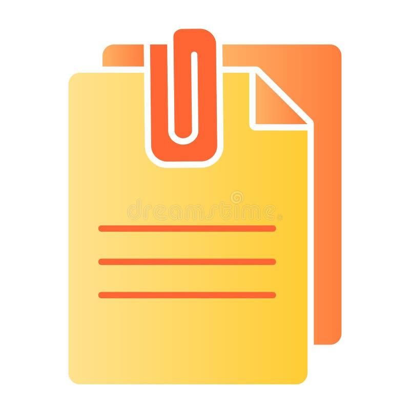 附加文件平的象 与夹子颜色象的纸在时髦平的样式 板料梯度样式设计,被设计 向量例证