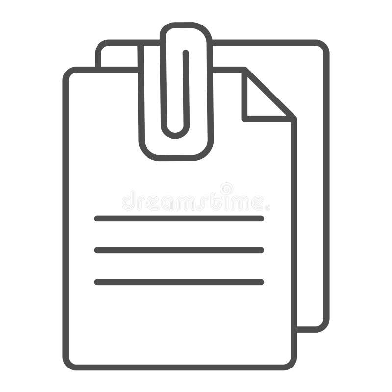 附加文件稀薄的线象 与夹子在白色隔绝的传染媒介例证的纸 板料概述样式设计 皇族释放例证