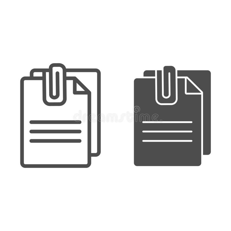 附加文件线和纵的沟纹象 与夹子在白色隔绝的传染媒介例证的纸 板料概述样式 向量例证