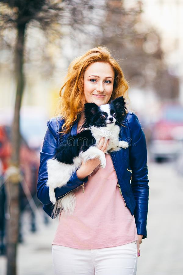 附属的人和狗 有雀斑的年轻红发白种人妇女在面孔举行黑白粗野的奇瓦瓦狗品种狗 的treadled 免版税库存照片