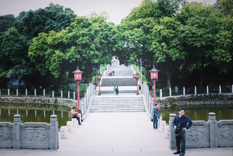 附近中国ladde、白色大理石和树 库存图片