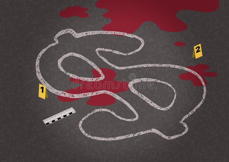 附近象征一个落的美元和刑事学的对象的一具尸体的白垩概述 皇族释放例证