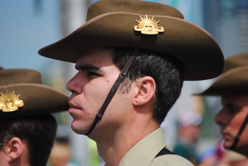 陆军澳洲澳大利亚日官员游行 库存图片