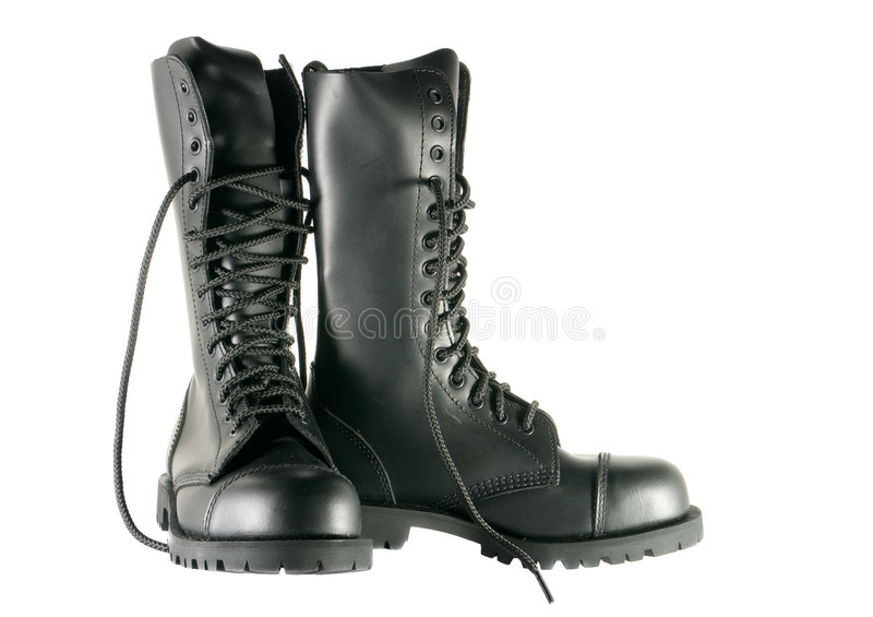 陆军黑色鞋子 库存照片
