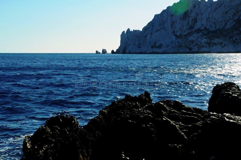 陆间海在南法国 库存图片
