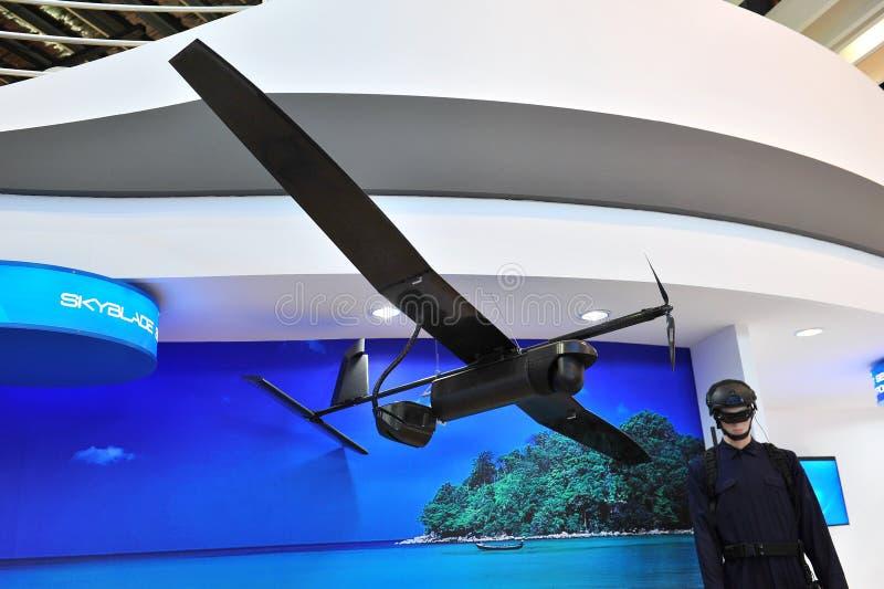 陈列它的Skyblade的ST航空航天在新加坡Airshow怯弱了空中车(UAV) 2012年 图库摄影