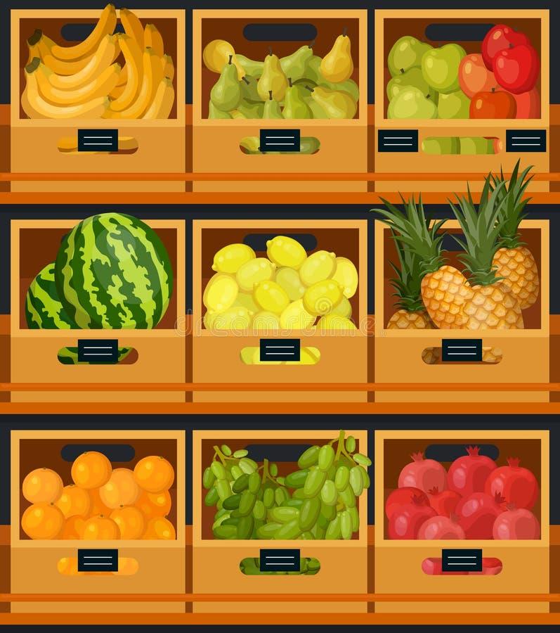 陈列室或柜台在有机食品市场上 向量例证