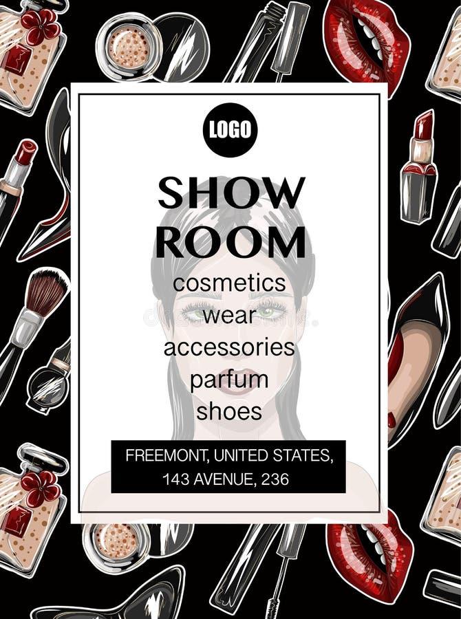 陈列室的名片有庄稼上面、嘴唇、鞋子、唇膏、太阳镜,刷子和其他的 构成修补传染媒介例证 库存例证