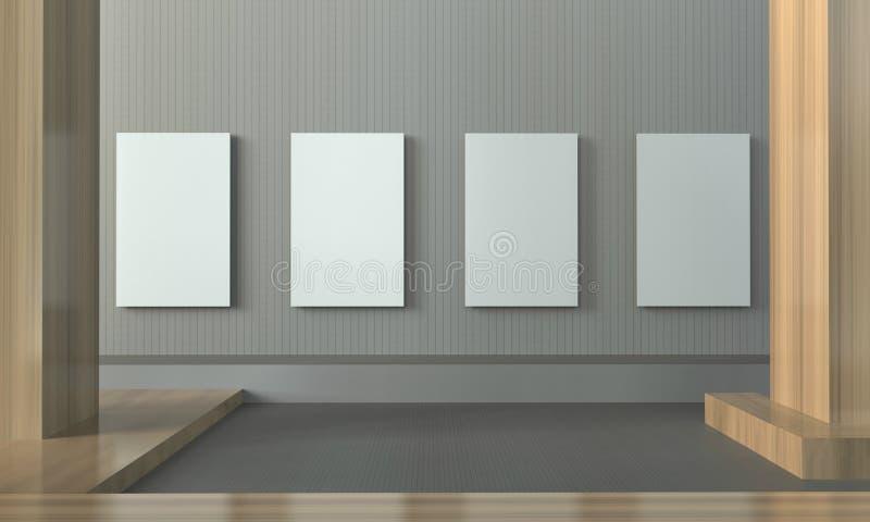 画廊陈列干净和最小的画框当代墙壁 皇族释放例证