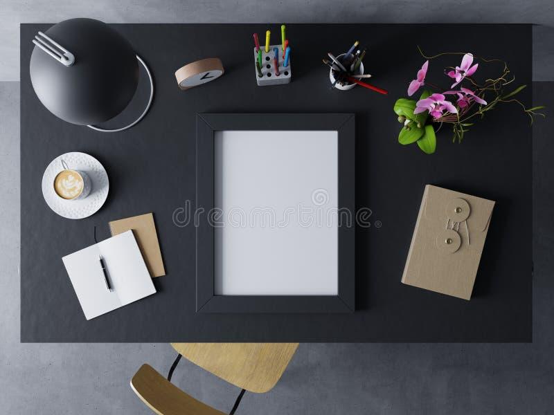 陈列空白的海报设计的假装设计模板在现代工作区的在基于桌的水平的黑框架 皇族释放例证