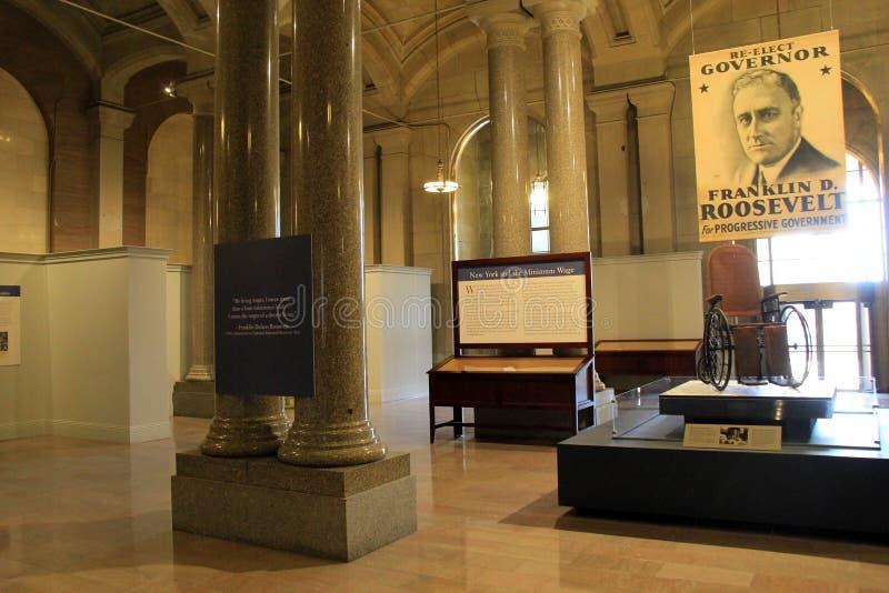 陈列突出富兰克林D罗斯福的政治事业,阿尔巴尼的状态议院, 2016年 库存图片