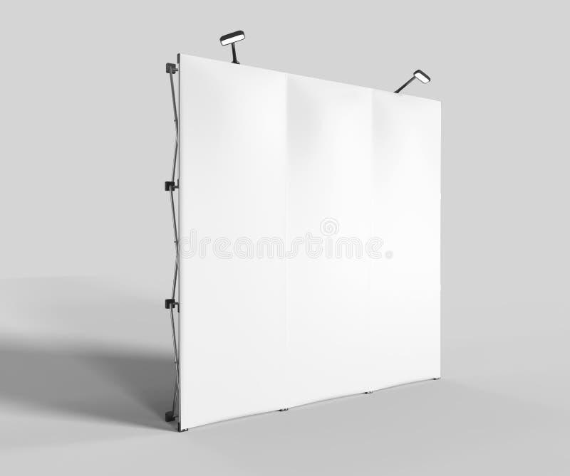 陈列紧张织品显示横幅商业展览广告立场与LED或卤素光的立场背景与站着看的人a 库存图片