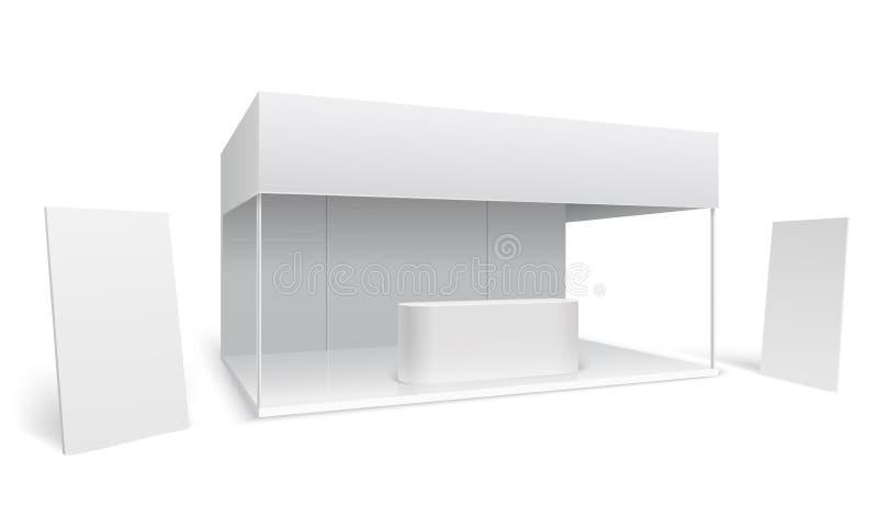 陈列贸易立场 白色空事件营销摊 与显示和站立的横幅3d传染媒介的促进立场 皇族释放例证