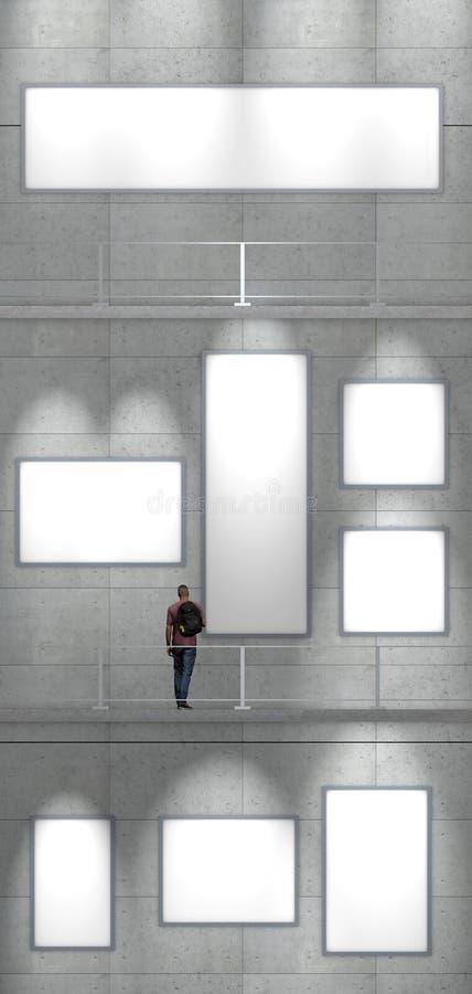 陈列,到博物馆的参观 现代的艺术 公平的艺术 在一个多层的博物馆的墙壁上的绘画 皇族释放例证
