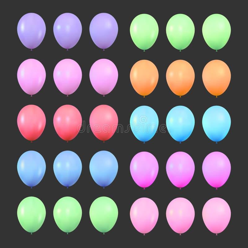 陈腐 设置现实五颜六色的发光的氦气气球 被隔绝的轻快优雅生日装饰 库存例证