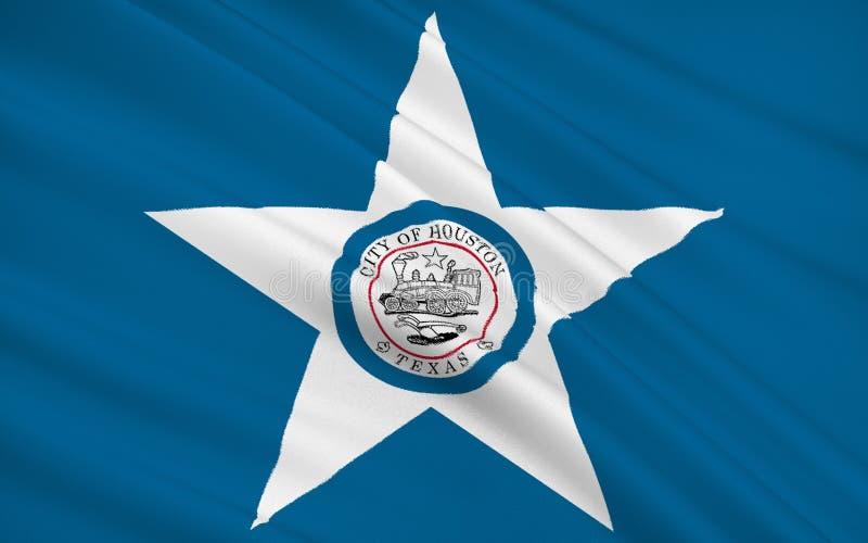 陈述休斯敦旗子-美国和larg的一个城市 库存例证
