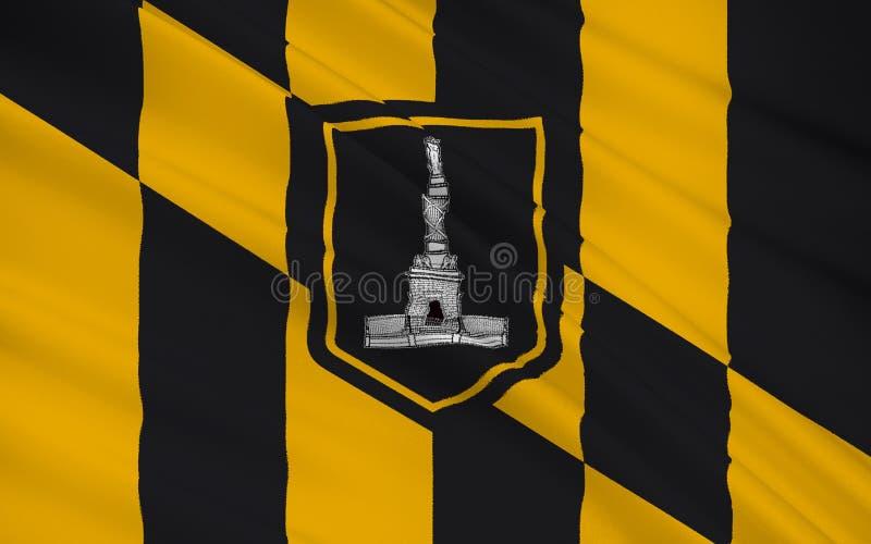 陈述巴尔的摩旗子-东部的一个独立城市  库存例证