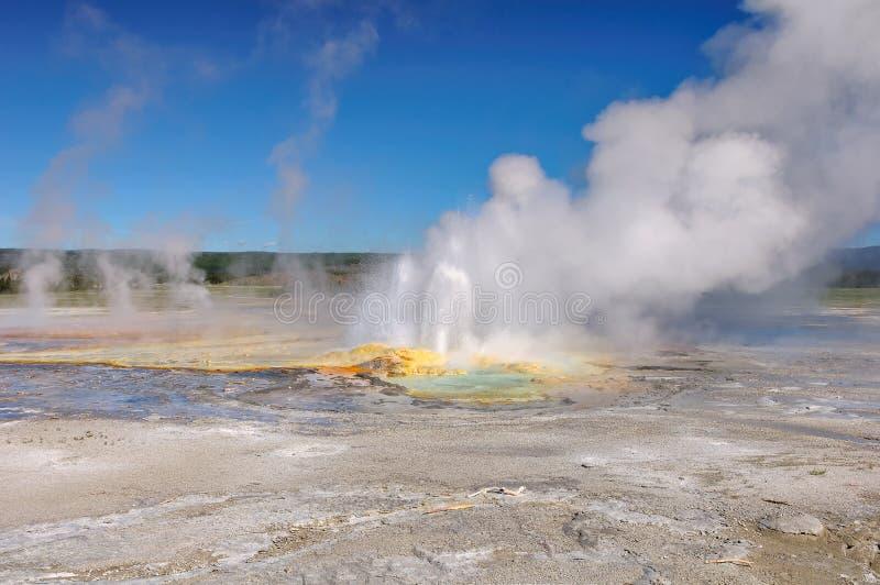 降低喷泉水池,黄石国家公园 免版税图库摄影