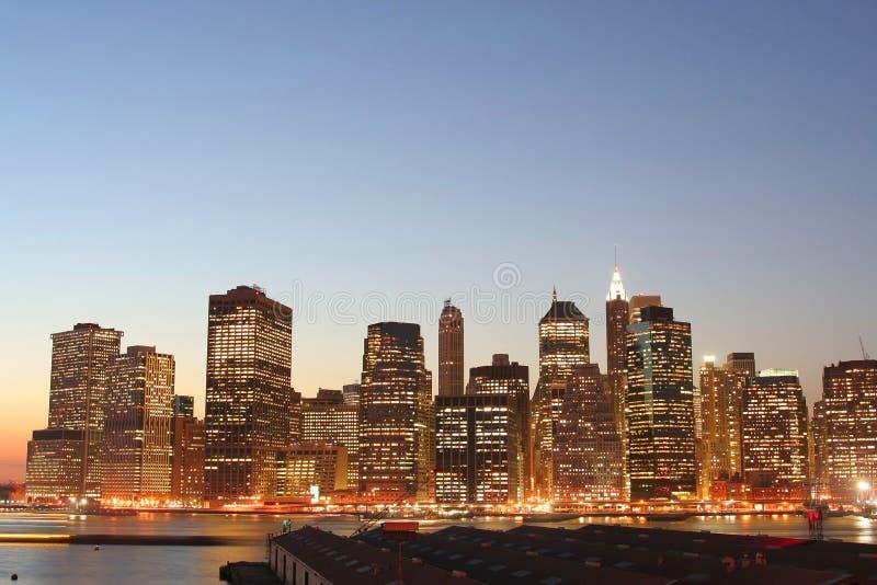 降低曼哈顿地平线 免版税图库摄影
