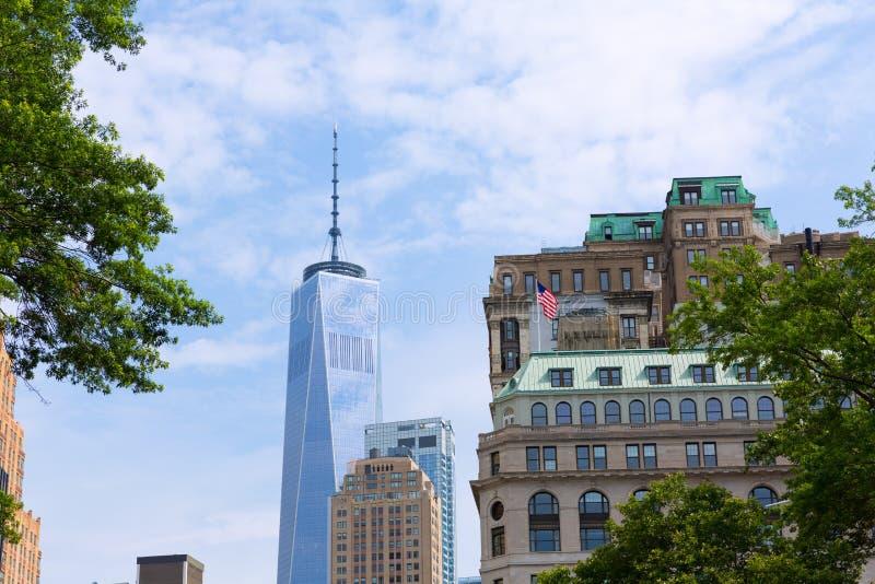 降低曼哈顿新的地平线自由塔美国 免版税库存图片